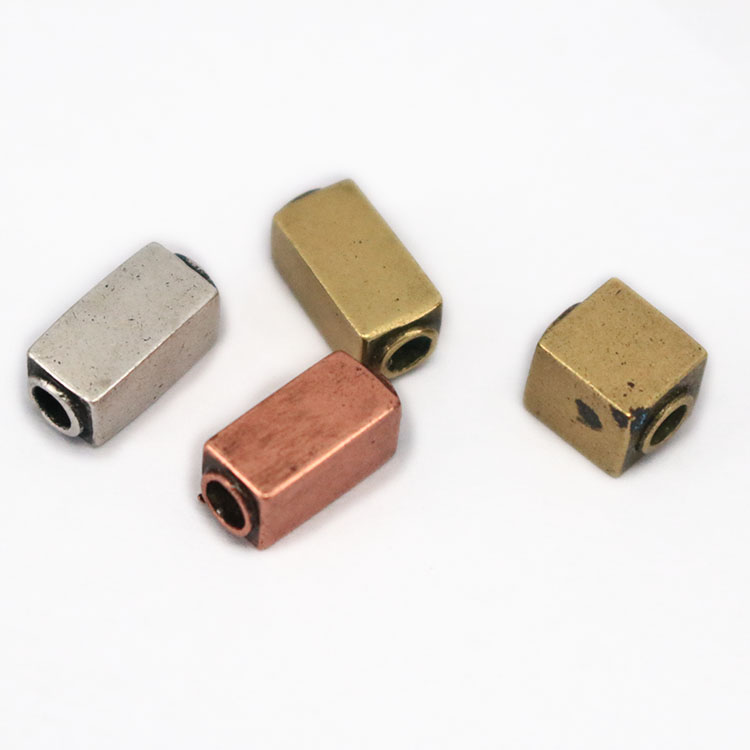JS1452 Can Custom Engrave Logo Antique Silver Bronze Copper Square Rectangle Oblong Cuboid Spacer Beads