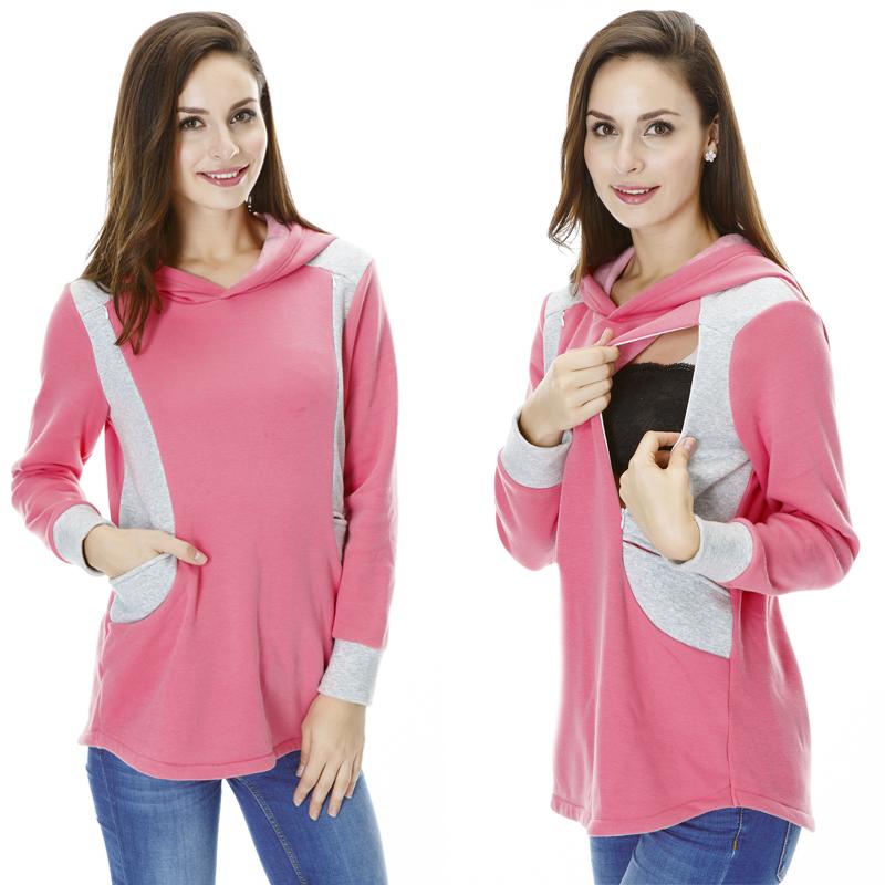 Свитер беременным кормящих одежды потепление лоскутное грудное вскармливание топы беременным толстовки осень и зима свободного покроя носить