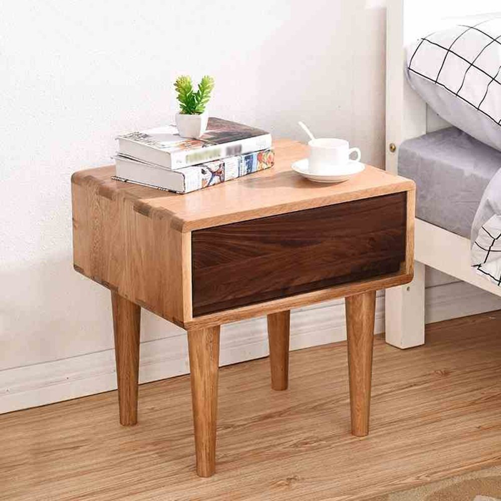 PM-Nightstands Solid Wood Bedside Table White Oak Storage Locker Bedroom Bedside Cabinet