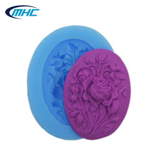 Oval vivid rose silicone soap and candle mold, custom design silicon moulds
