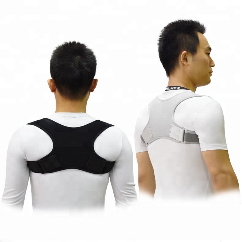 Gangsheng 2019 New Design Upper Back Brace Posture Back Posture Corrector, Black gray or customized