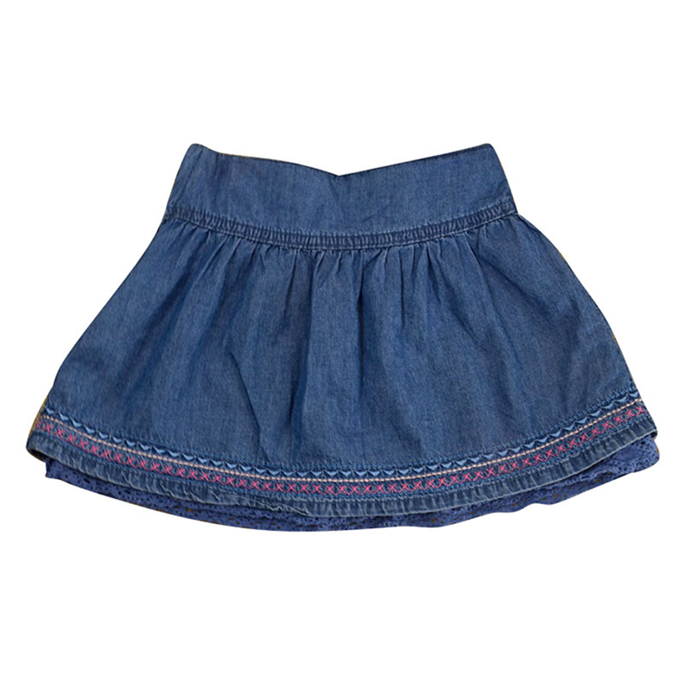 Oem Survice 100% Cotton Denim Baby Girls Mini Skirt
