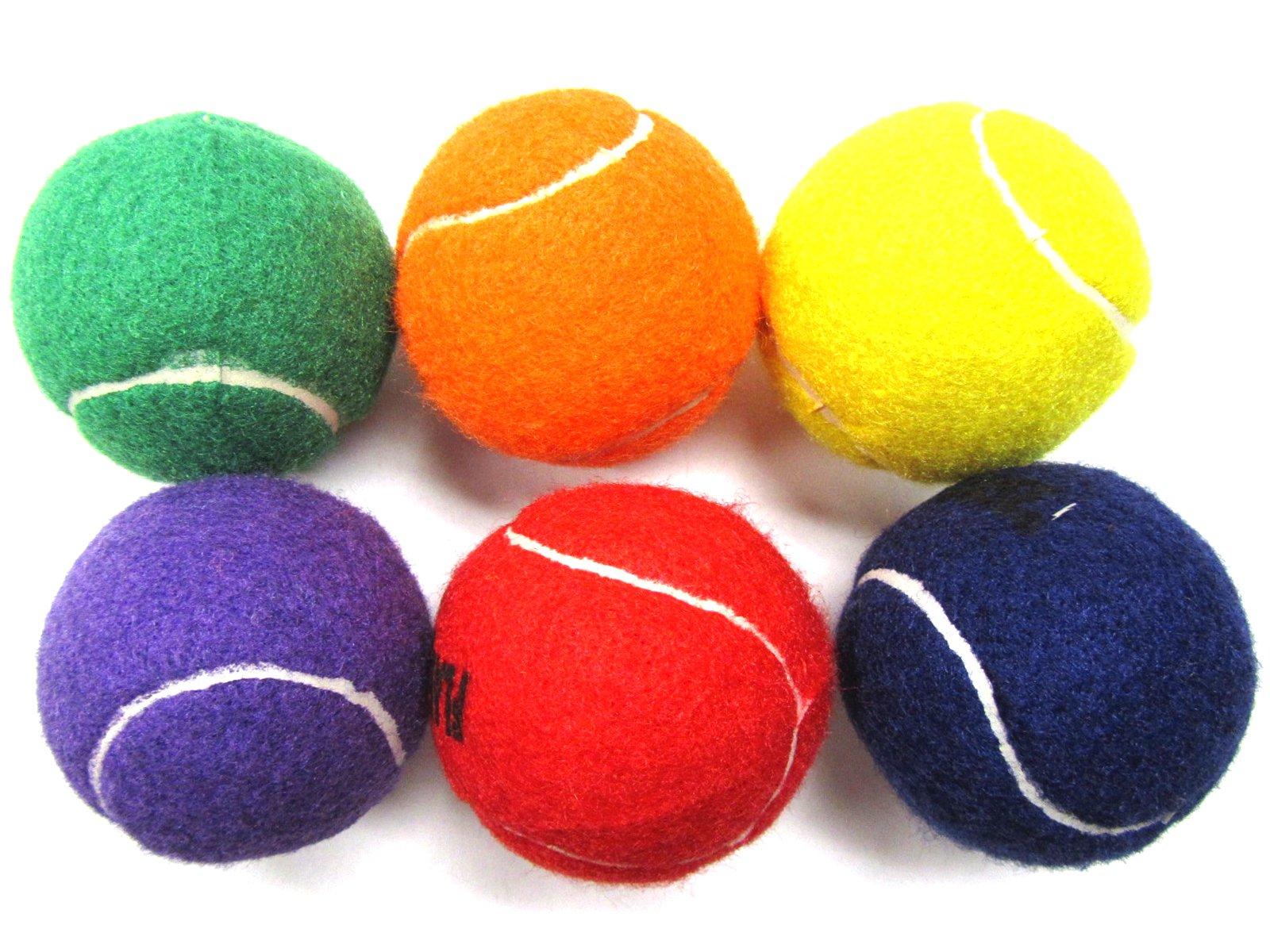 Voltare Color Tennis Ball Set | Green, Orange, Yellow, Purple, Red, Blue Tennis Balls | (6 Pack)