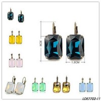 Classic faceted Square glass quartz earrings color crystal women earrings