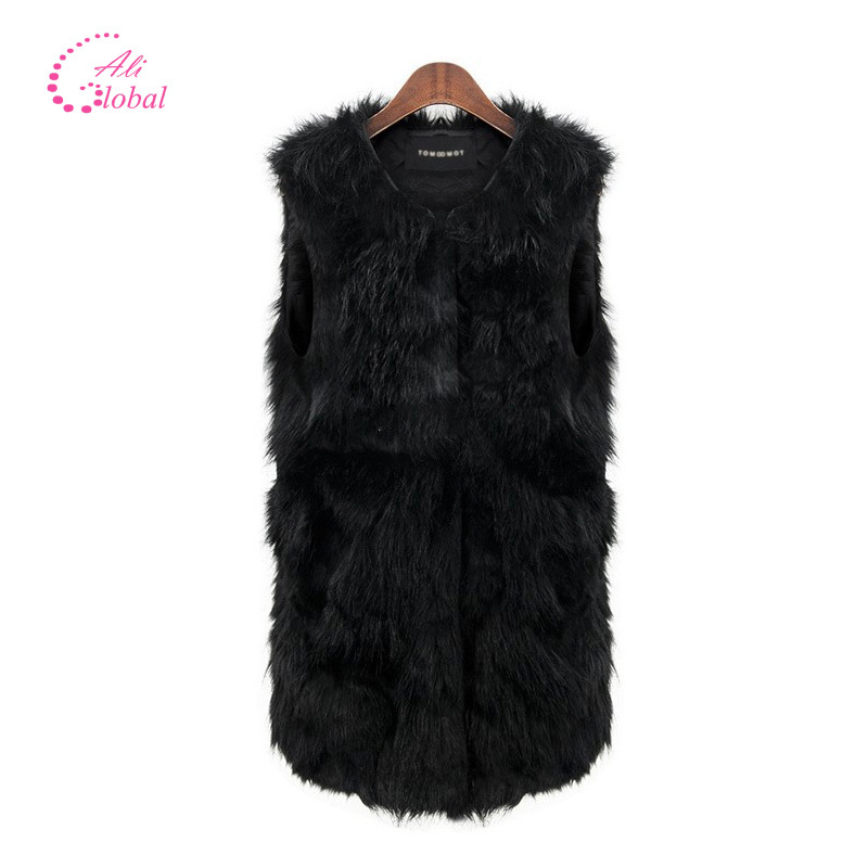 2015 Fashion Winter Women fur Vest casual V-neck Sleeveless plus size Faux Fox Fur Vest solid color cotton Long Waistcoat