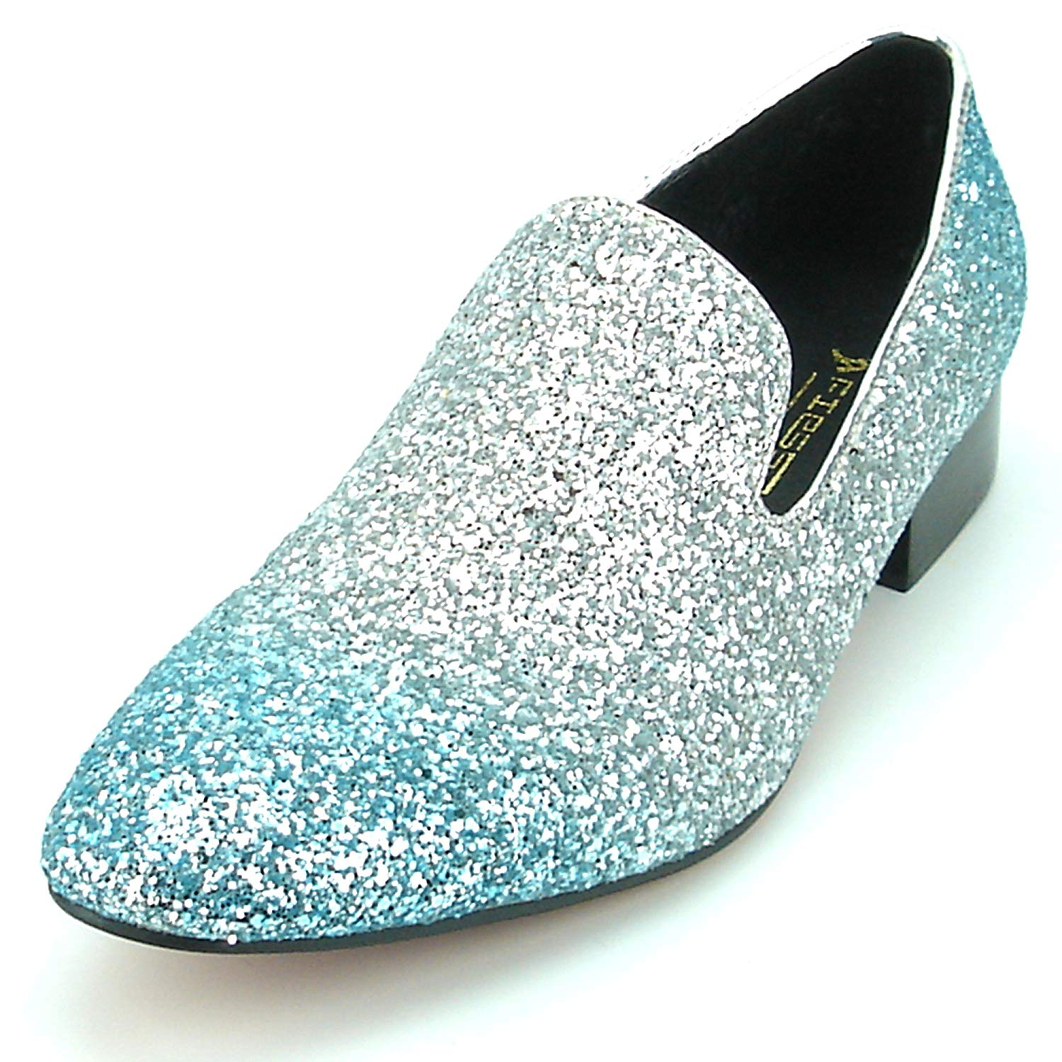 a55f1a5d9 Get Quotations · Fiesso by Aurelio Garcia FI-7156 Silver Blue Glitter Slip  on Loafer - European Shoes