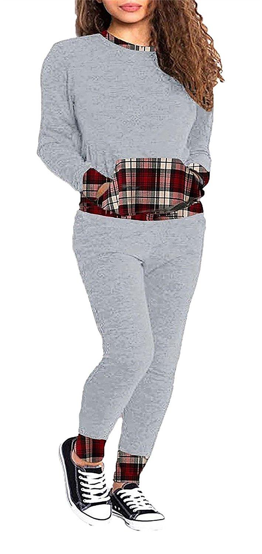 Rimi Hanger Womens Tartan Contrast Tracksuit Ladies Long Sleeve Lounge Wears Tracksuit S/3XL