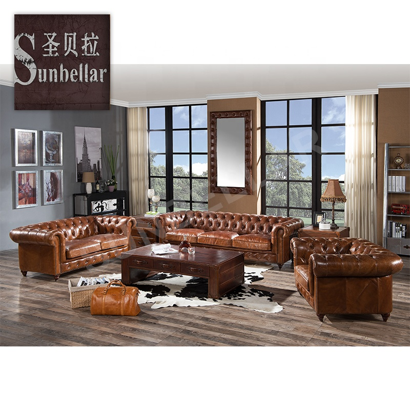 full real leather chesterfield sofa sets chesterfield-sofa buttoned vintage distressed leather living room couch home sofa