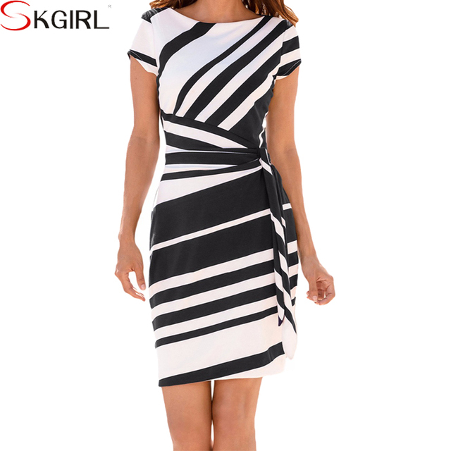 2017 Women Black White Pencil Knee Length Blocked Mix Two Color Combinations Of Dresses