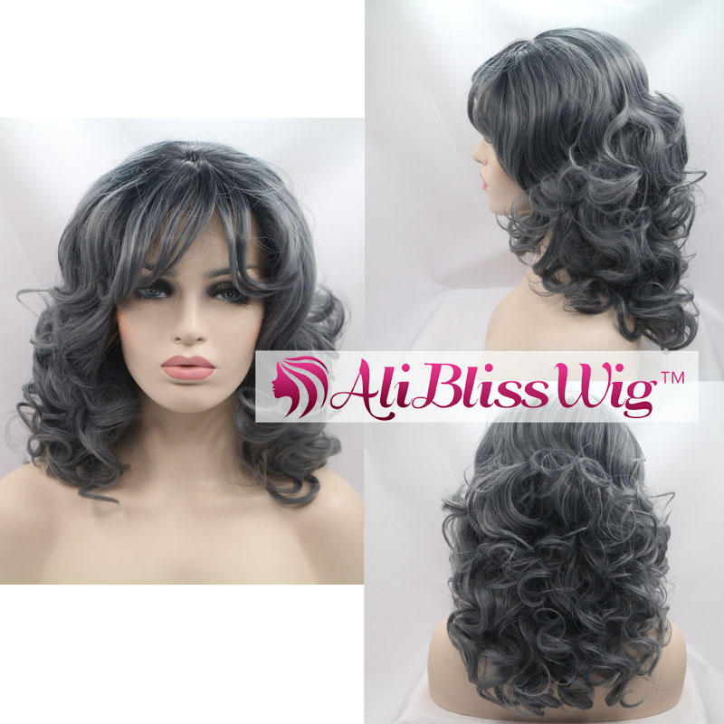 "16"" Natural Wavy Heat Resistant Fiber Silver Grey Hair Short Curly Synthetic Lace Front Wig with Bangs"
