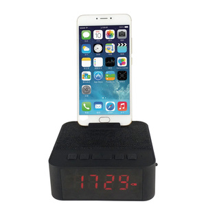 Portable mini digital fabric usb wireless alarm clock speaker with FM radio