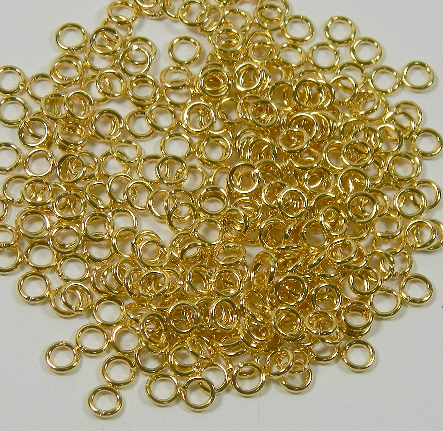 Rockin Beads 400 Jump Rings Gold Plated Brass 6mm Round 18 Gauge Jewelry Connectors Chain Links