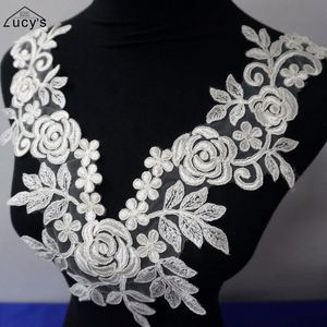 Embroidery V Neck Lace