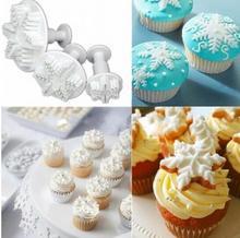New Sale 3Pcs/Set Snowflake Fondant Cake Decorating Plunger Sugarcraft Cutter Mold Tools Christmas Cake Decorating Tools