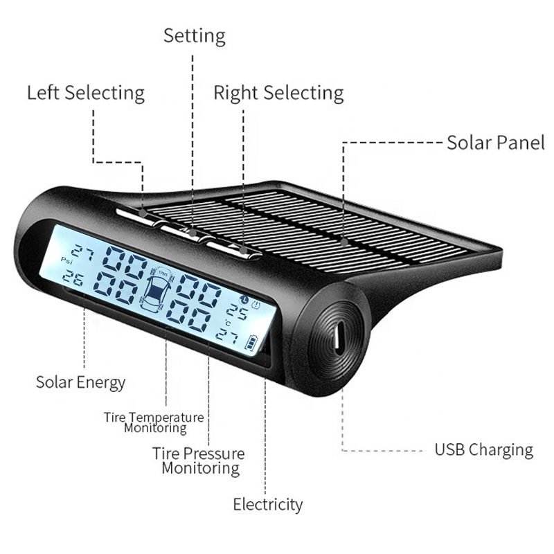 Car TPMS Tire Pressure Monitoring System Solar Charging