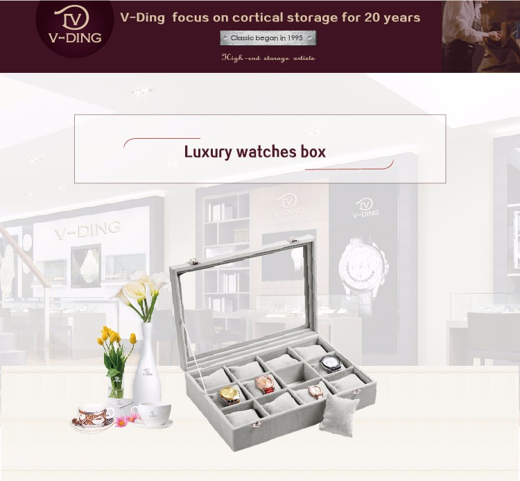 vding from china supplier new premium products 12 skylights quality velvet watch gift box
