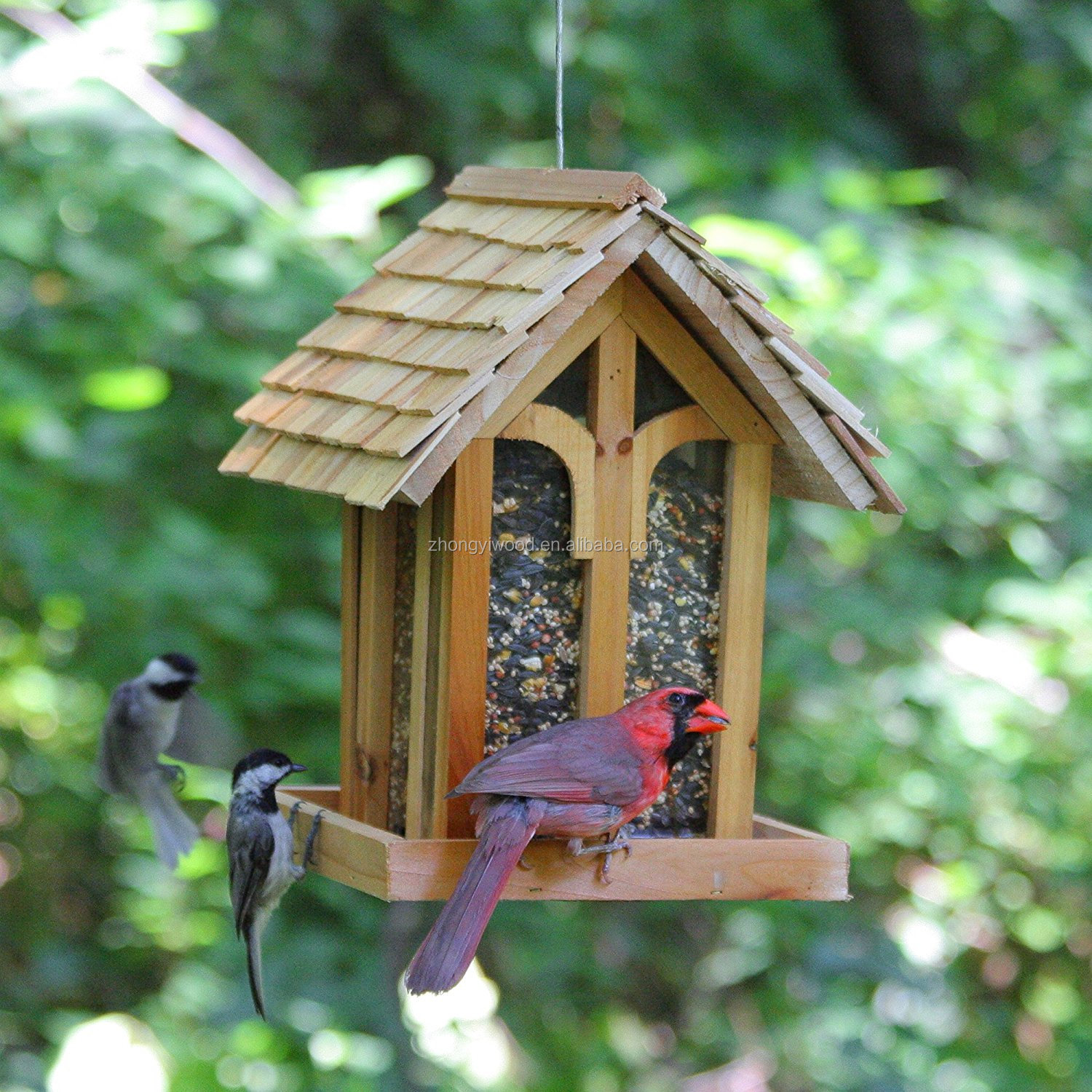 China Supplier Outdoor Wooden Wild Bird Feeder