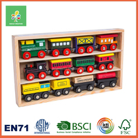 Wooden train and Track toys for children ,multi-level layout