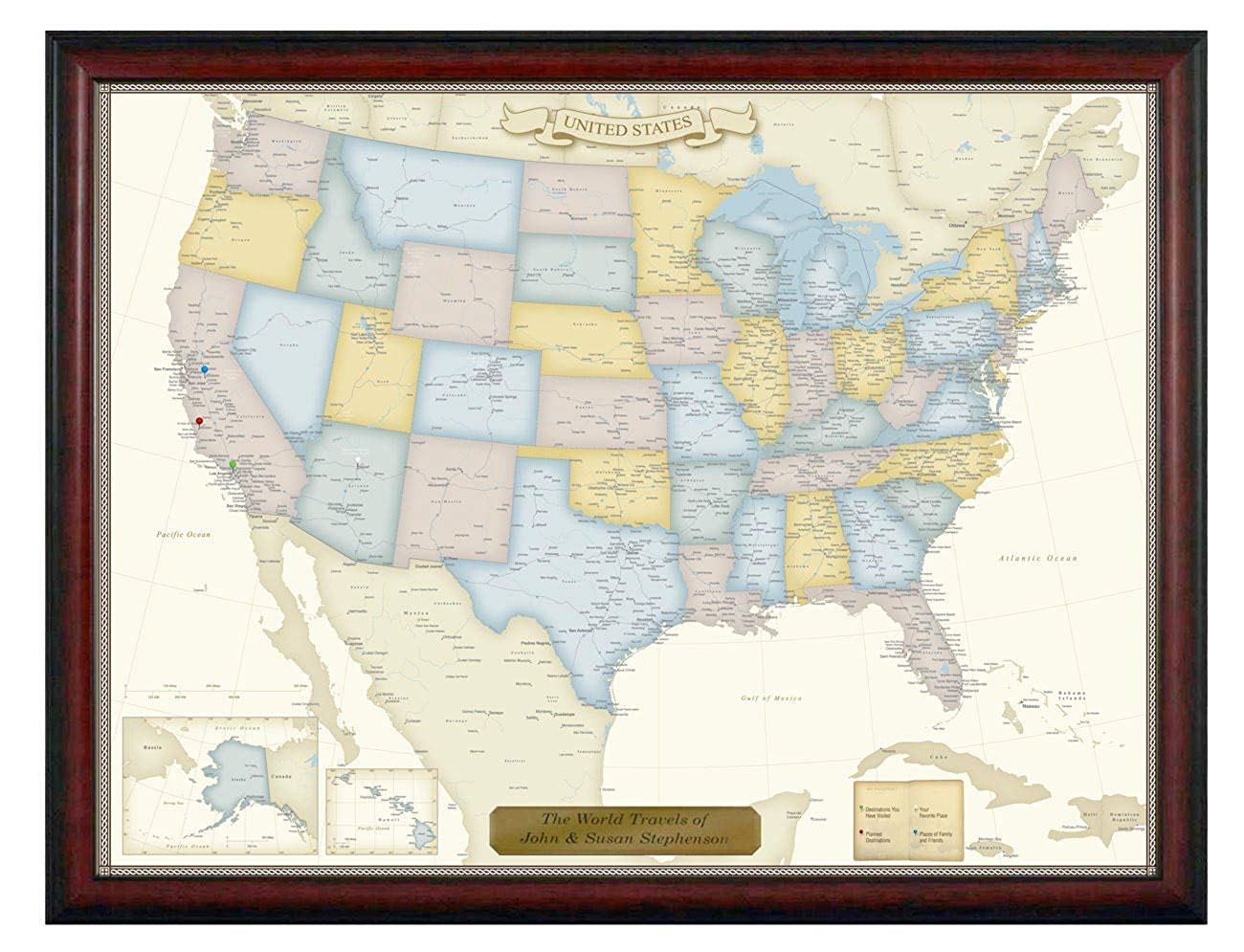 Personalized Push Pin United States Travel Map with Custom Brushed Gold Plaque