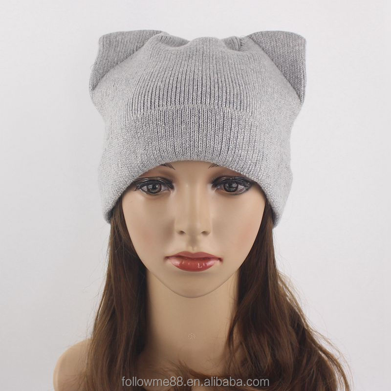 Winter Cute Women Ladies Knit Hat  Cat Ear Crochet hat Warm Ski Cap