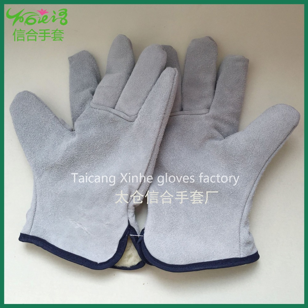 XINHE short heat resistant cotton leather welding working glove/AB Level