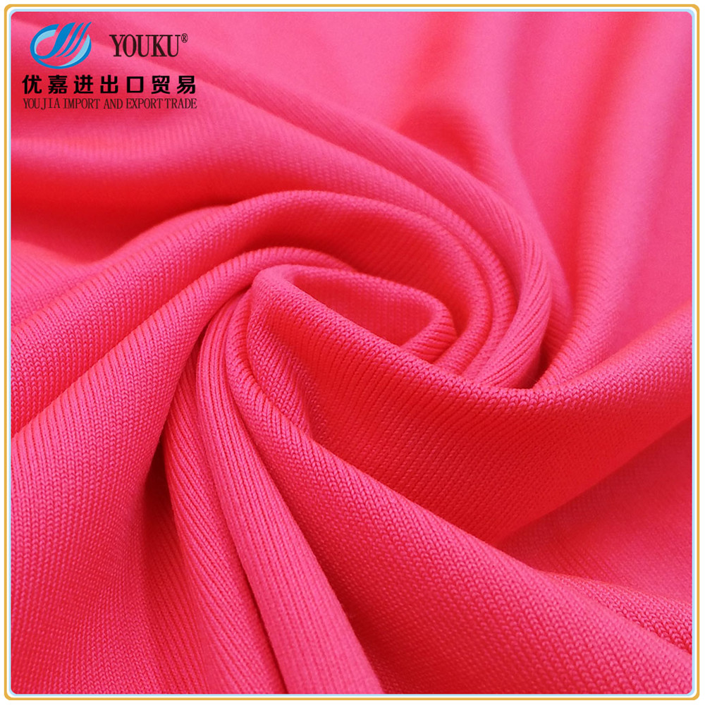 directly supply 100% polyester knit fabric spandex single jersey fabric for yoga T shirt