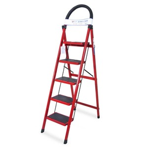 Modern design red anti-skid ladder aluminum alloy 4 step 5 step household ladder