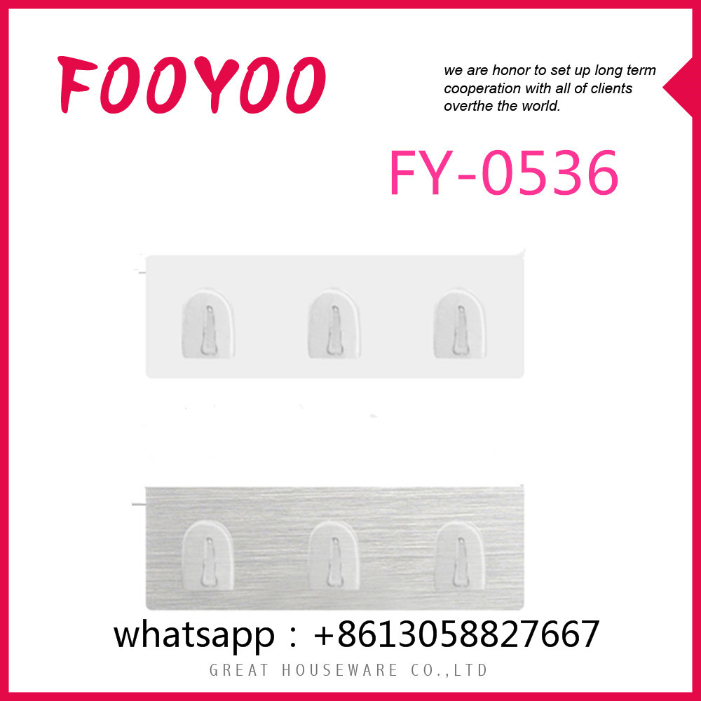 FOOYOO FY-0536 LONG HOOK FLAT PLASTIC HOOKS HEAVY DUTY ADHESIVE BATHROOM HOOKS