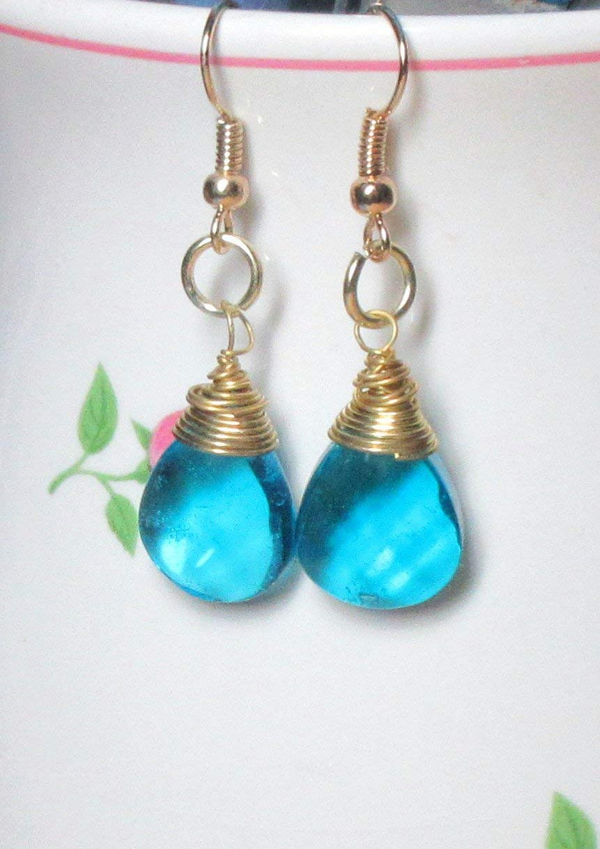 d5b99b8fa Get Quotations · Gold-tone Wire Wrapped Blue Tear Drop Glass Earrings with  Gold-tone Hypoallergenic Earring