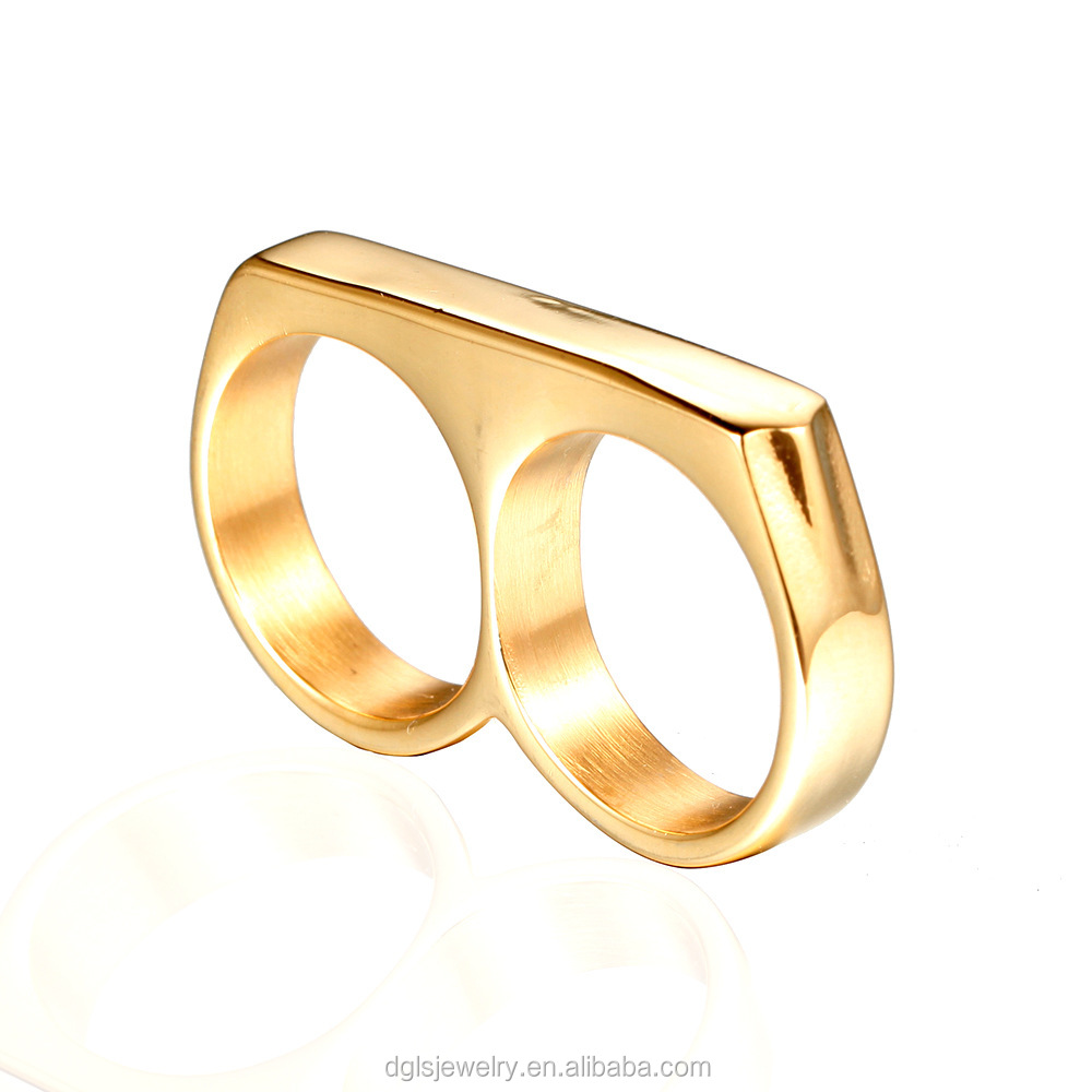 0859e3beb Trend 18k Yellow Gold Plated Stainless Steel Fashion Novelty Mexican Biker  Two Finger Rings for Women
