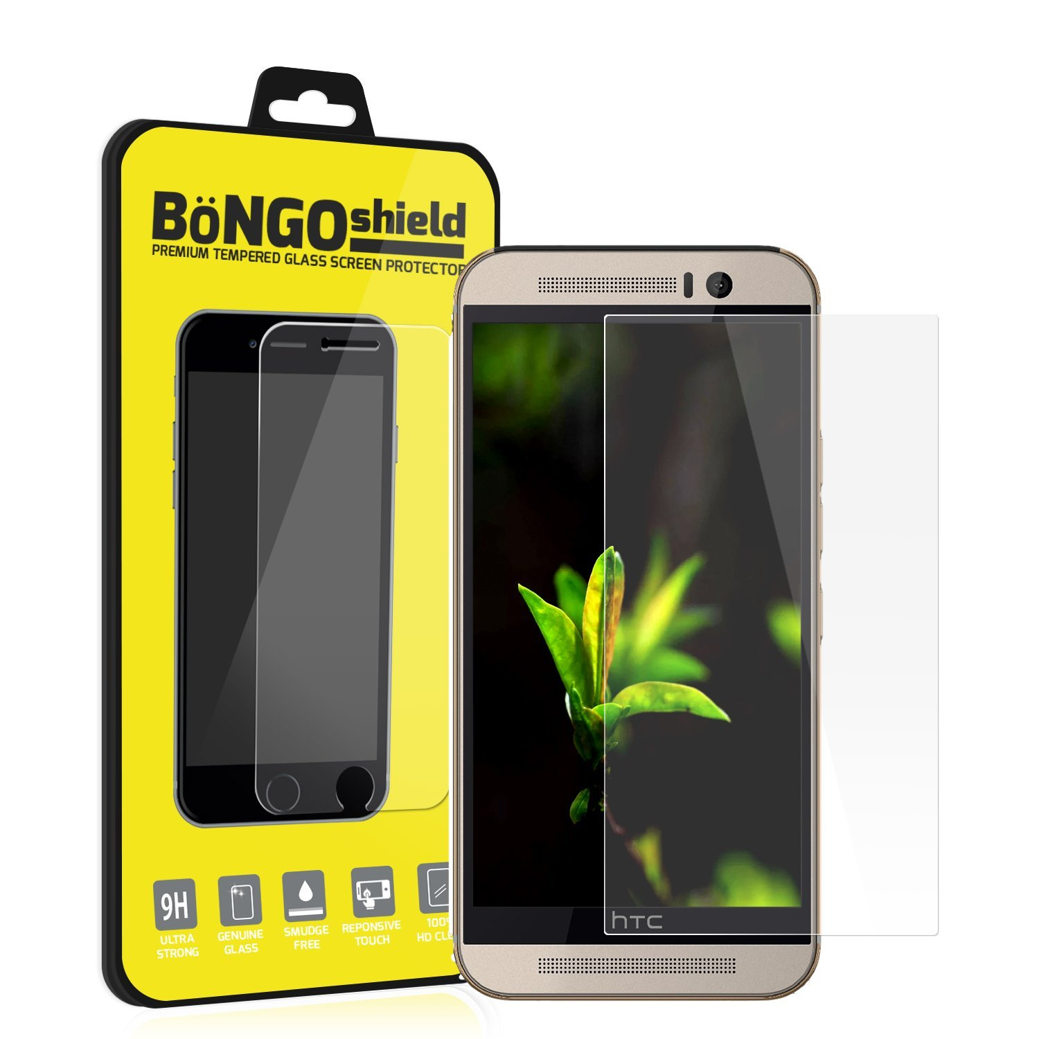BinTEK Bongo Shield HTC One M9 Screen Protector PREMIUM HTC One M9 Tempered Glass Screen Protector / Compatible with AT&T, T-Mobile, Sprint, Verizon Models