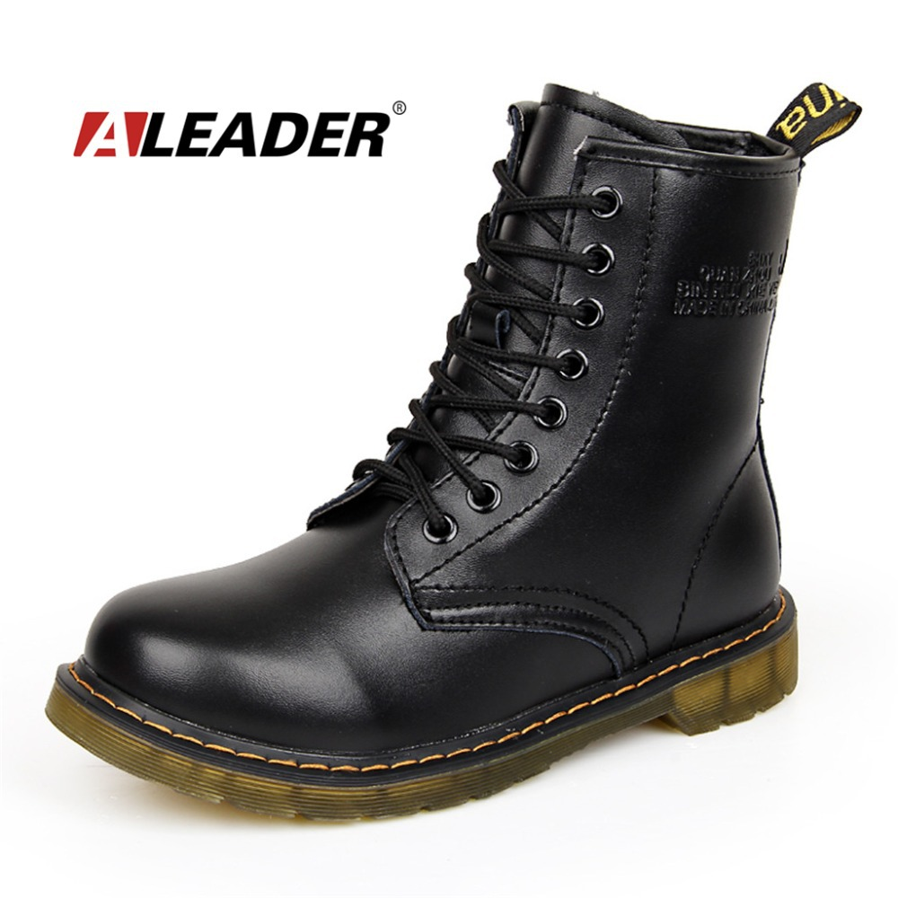 Womens Autumn Leather Ankle Motorcycle Boots New 2015