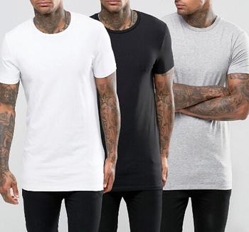 Wholesale Custom Tall Tee Longline T Shirt Elongated T Shirt