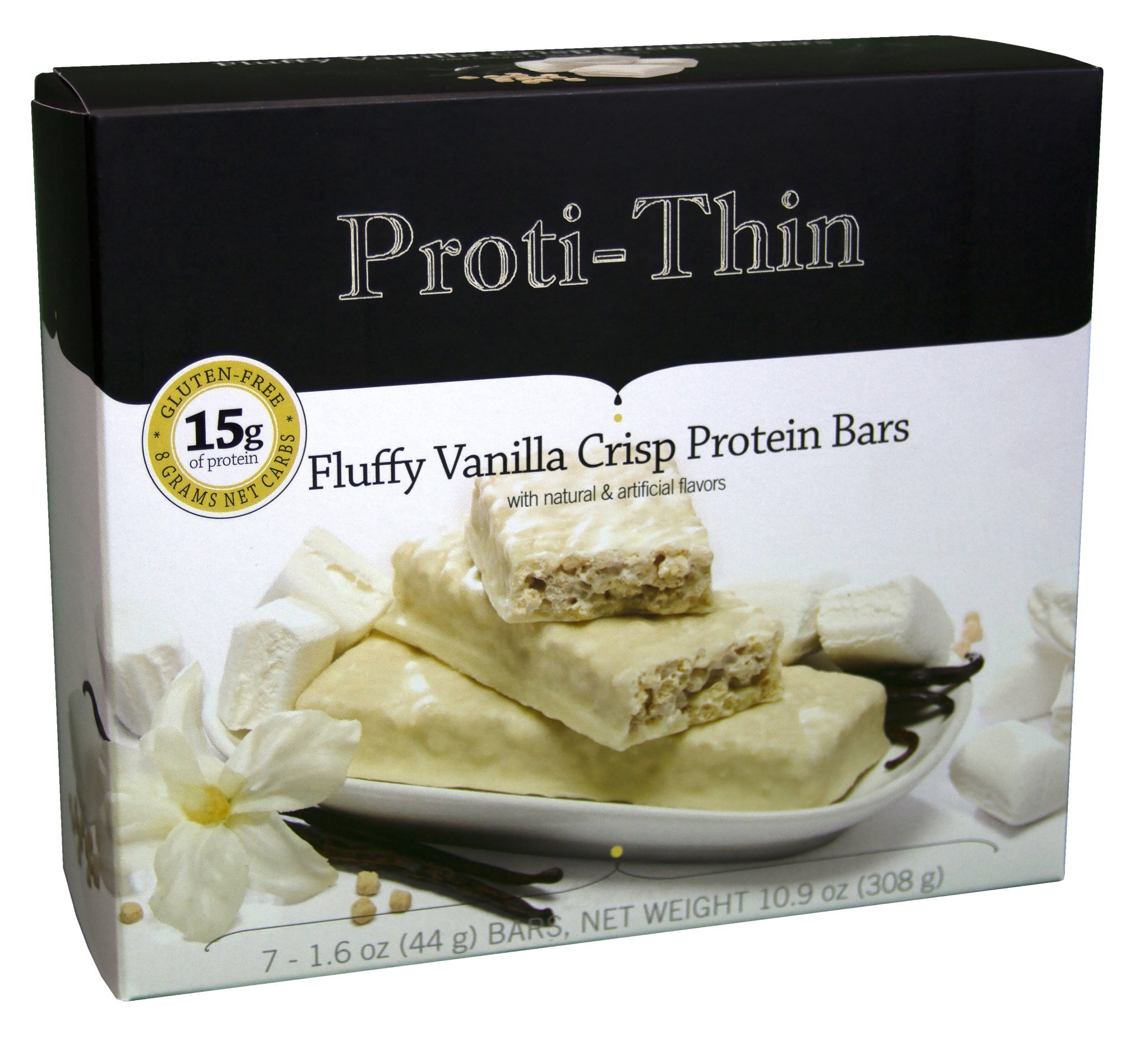 Proti-Thin - Fluffy Vanilla Crisp - Protein Bar - Ideal Protein Compatible - 15g Protein - Low Carb Diet Bar - High Fiber Snack Bar - Gluten Free (7/Box)