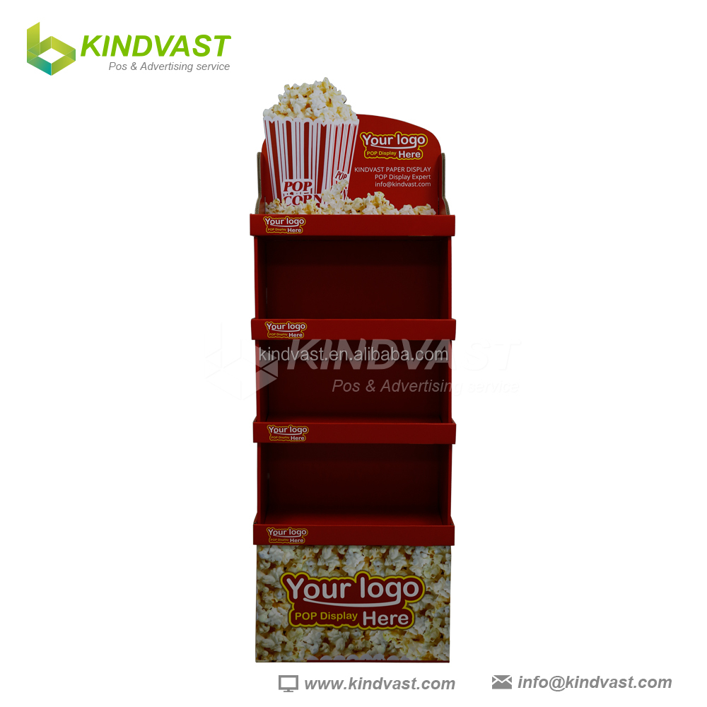 Kindvast design lucky color popcorn paperboad floor display