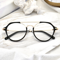 Best selling double bridge vintage acetate combine metal round optical frames ready goods
