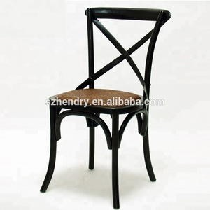 French Bistro Style dining side chair oak wood X back chair