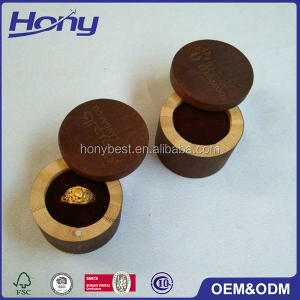 Antique Style Small Wholesale Custom Made Lacquer Black Round Wooden Wedding Engagement Ring Jewelry Gift Box