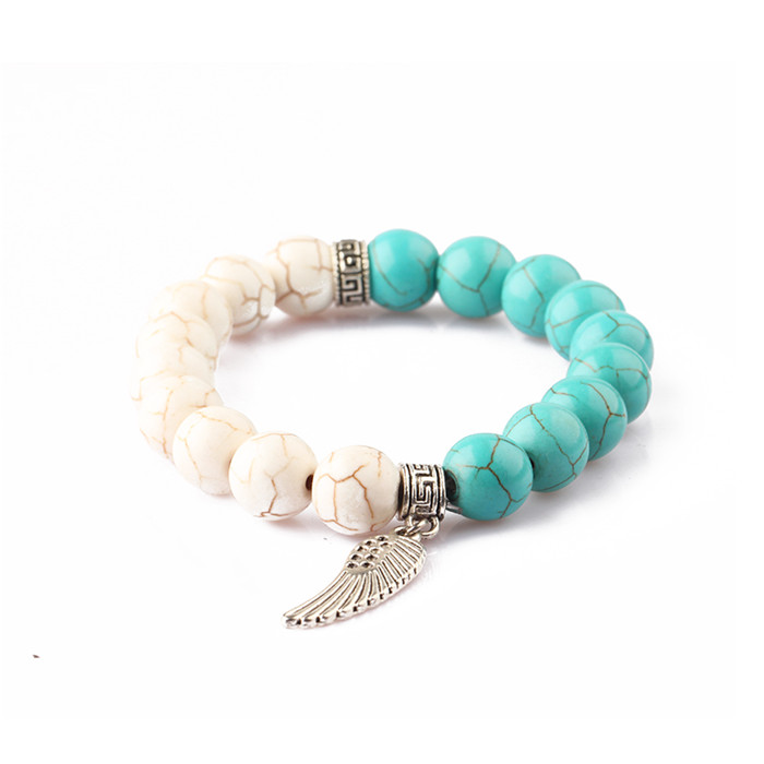 top sellers 2020 for amazon wholesale fashion jewelry turquoise gemstone bead stretch bracelets