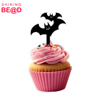 2018 Fashion Custom Halloween Bat Party Acrylic Cupcake Picks Topper For Halloween cake decoration Wholesale