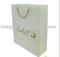 Competitive Price White Cardboard Shopping Paper Bag with ropes handle
