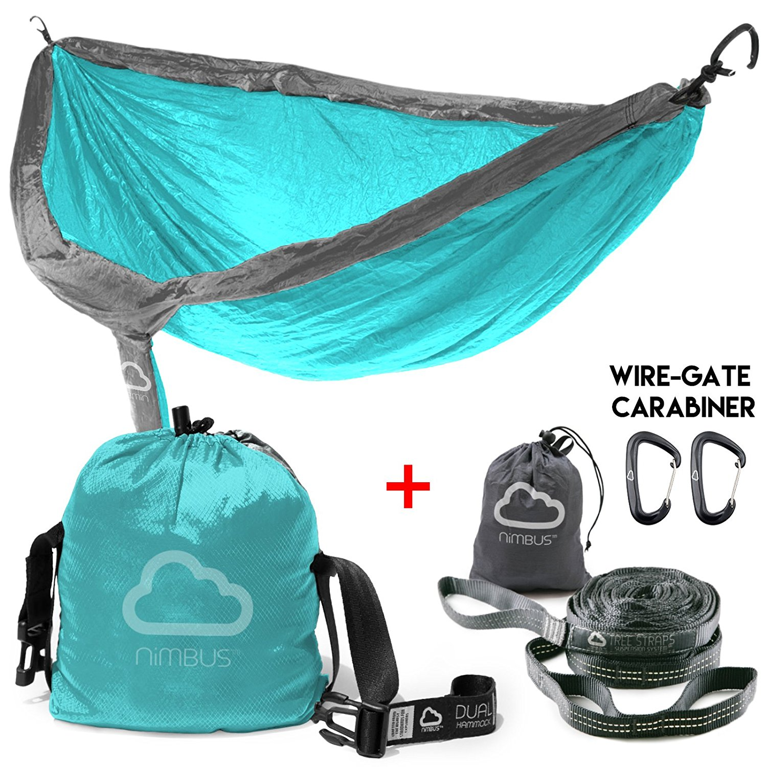 CYBER MONDAY SALE!!! Ends Today! - Double Outdoor Camping Nylon Hammock with Suspension Kit & Premium Carabiner [Complete Hammock Set] - Designed in USA | Top Rated | Built to Last | by Nimbus Hammock