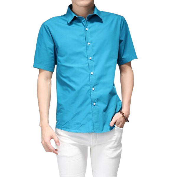 16 Colors Men Summer Cotton Short Sleeve Shirt 2015 Brand Fashion Fitness Korean Style Mens Dress Business ShirtS ZHY1452