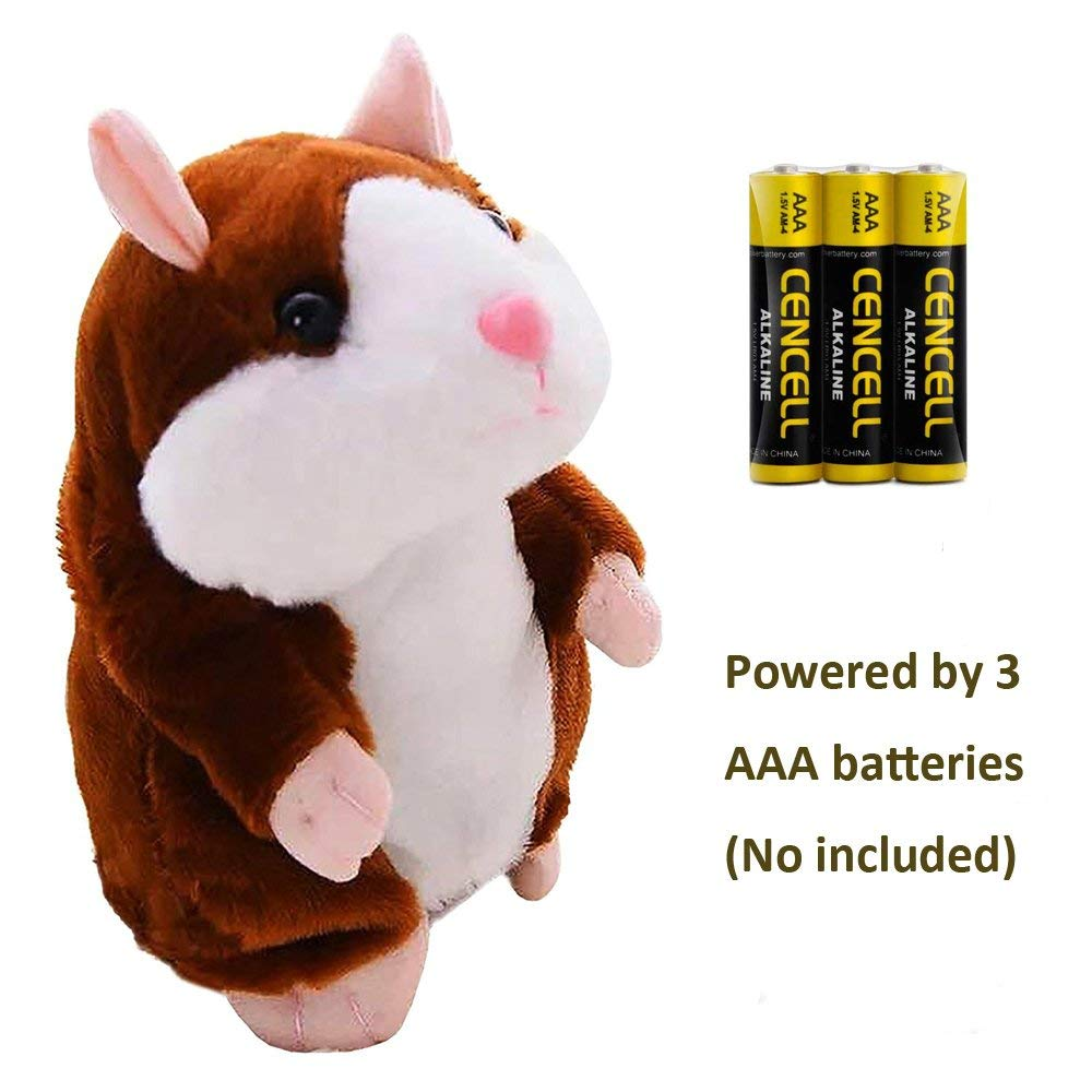Talking Hamster Repeats What You Say Plush Interactive Toy, Talking Record Mimics Plush Animal Toy Electronic Pet Buddy Hamster Gift for Kids Children Christmas (Dark Coffee, Talking Hamster)