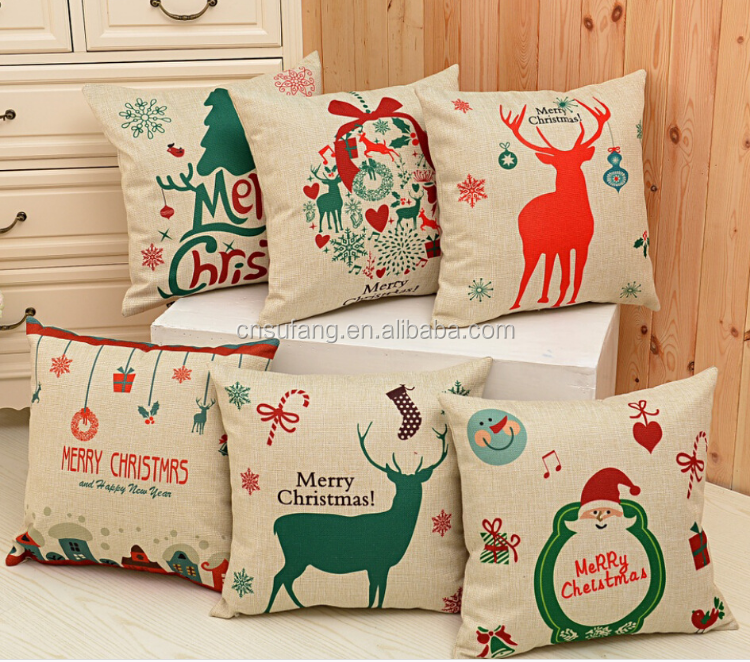 2017 wholesale cheap merry Christmas printed coussin cushion covers personalized designs pillow covers