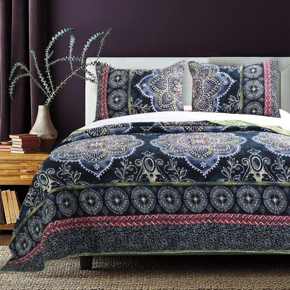 OSD 2pc Girls Navy Blue Medallion Quilt Twin Set, Boho Chic Bohemian Floral Bedding, Green White Purple Pink, Gypsy Geometric Flower Scroll Motif Zigzag Chevron Stripe Themed Pattern