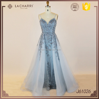 New arrival V Neck Embroidery Blue Evening Gown Long Prom Dresses 2016