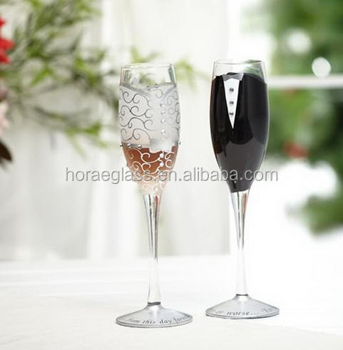 2pcs/set wedding champagne glass set decor cup hanap red wine cup wedding glasses Bride Groom marry cups Accessory Supply