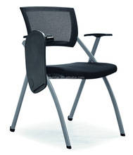 High Quality PP Armrest Mesh Conference Training Student Chair with Writing Pad