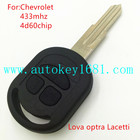 ms new item car key 3 button remote key 433 mhz with 4d60 transponder chip for chevrolet lova optra lacetti